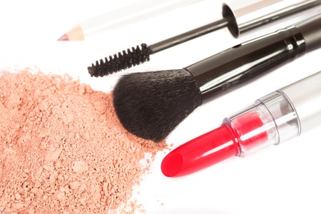 in vain: Tools and products for makeup on white background Stock Photo