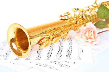 soprano saxophone: Rosa rosa, saxofón y de música sobre un fondo blanco Foto de archivo