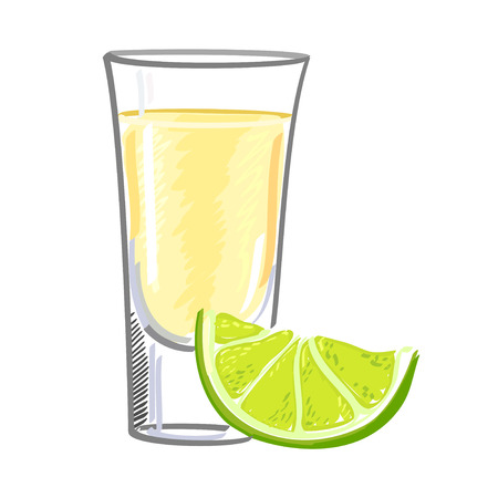 Golden tequila in a glass with a slice of lime isolated on white background
