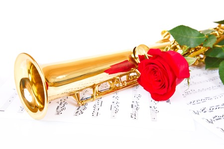 soprano saxophone: Musical notes and saxophone with red rose Foto de archivo
