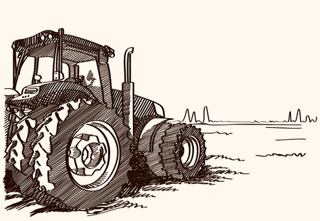 agrarian: Tractor on a field. Vector freehand linear ink hand drawn icon picture sketchy in art scribble style pen on paper. Side view with space for text on land. Illustration