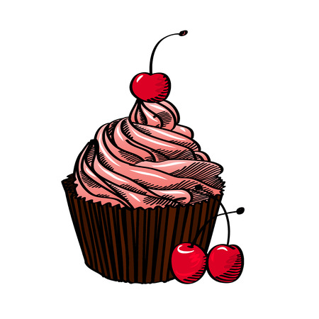 Cupcake With Cream And Cherry, Isolated On White Background, Vector Illustration