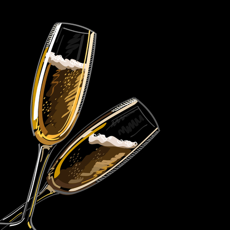 Two glasses with champagne, isolated on a black background, vector illustration.
