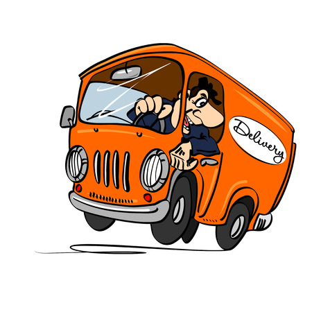 Cartoon bus with a driver, isolated on a white background. The concept of delivery.