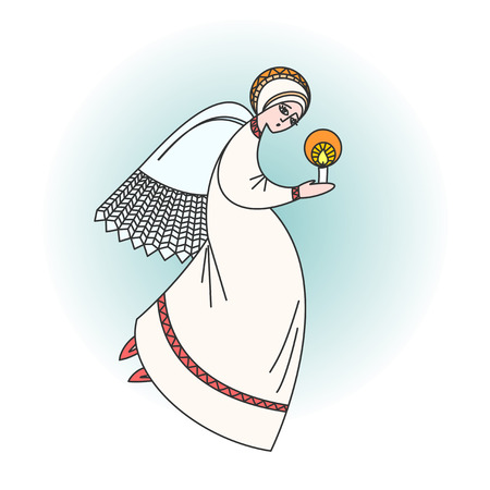 Angel character praying with a candle in hands. Stock vector illustration for christmas greeting cards, on religious occasions. Illustration