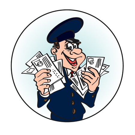 post man: Jolly postman in the blue cap with the letters in his hands. Vector cartoon concept of mail. Illustration