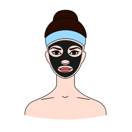 Black cosmetic mask on a womans face. The concept of beauty treatments, skin care and cleansing. Isolated on white background.