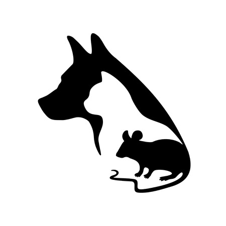 Black logo for veterinary clinic and pet shop. Vector pets silhouette on a white background. Dog, cat and mouse. Illustration