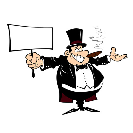 Cartoon man in a frock coat with a sign in his hand on a white background.