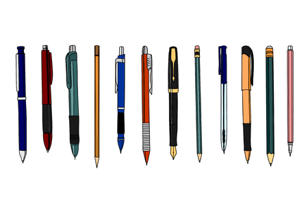 set of colored pencils and pens. Isolated on white.