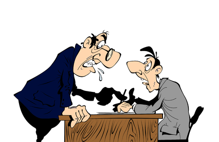 dismissal: Boss screams on worker, cartoon scene on a white background.