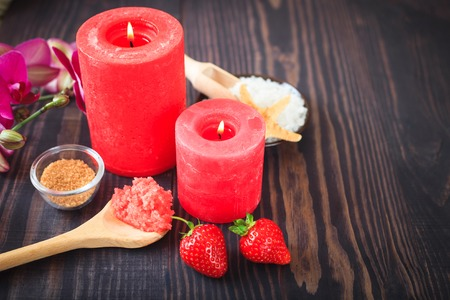 Strawberry body scrub with brown sugar and sea salt on the wooden background Stock Photo