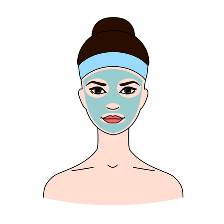 Cosmetic therapeutic blue kaolin mask for face on white background.