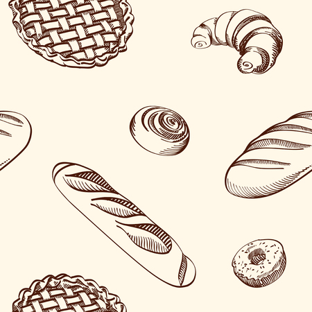 Set of vector illustrations - different kinds of cookies and cakes, seamless background. Hand drawn detailed drawing in vintage style.