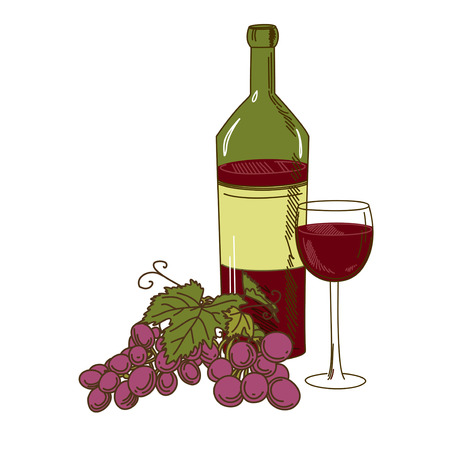 winemaking: A bottle of wine, grapes and a glass on a white background Illustration