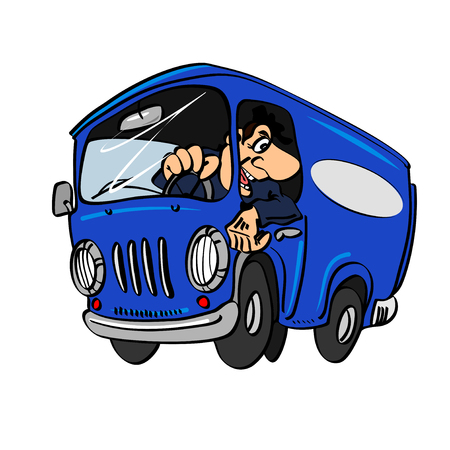 Cartoon blue bus with a driver, isolated on a white background