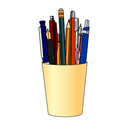 Pencils and pens in a yellow cup. Isolated on white background.