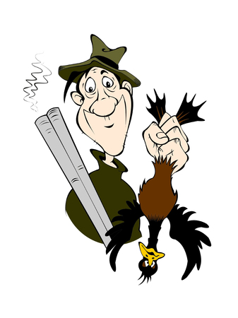 Cartoon character - a hunter with a gun and a duck in his hand. Isolated on white background.