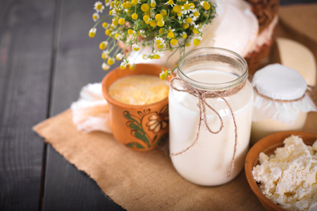 Still life with fresh farm products on the kitchen table close-up. Stock Photo