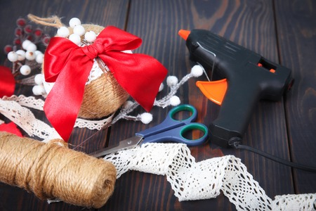 Making a toy for a Christmas tree. Handmade New Year decor. Copy space. Stock Photo