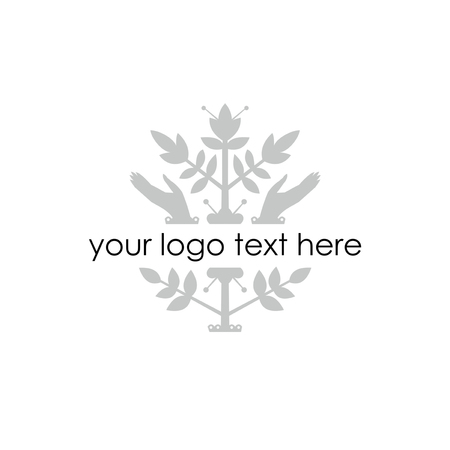 Vector illustration - silhouette of plant and hands. Blank for logo. Isolated on white. Illustration