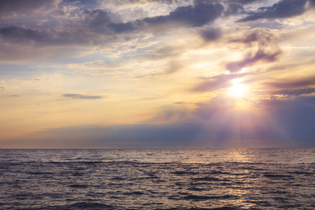 Panorama of beautiful sunset on the ocean. Morning at sea. Stock Photo