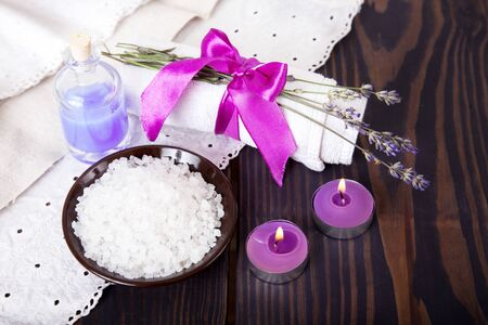 Sea salt with lavender, body care, spa.