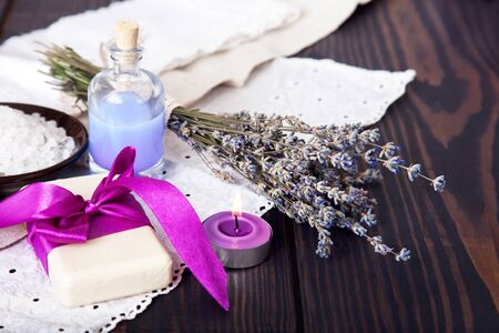A soap and a sea salt with lavender, body care, spa.
