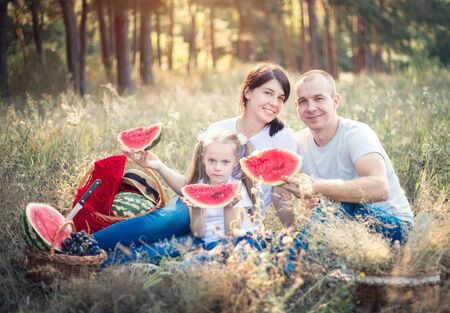 Family on a summer picnic. Watermelon and fruits, fun holidays. Banco de Imagens