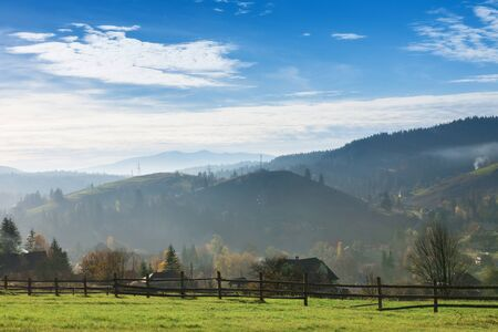 Beautiful daytime serene countryside picture in the mountains. Bright sunny day.