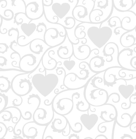 Seamless silver ornament with curls and hearts on a white background.