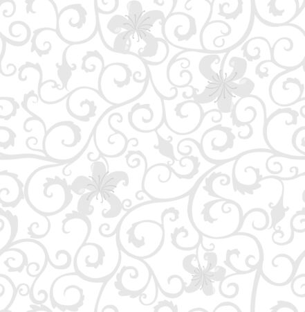 Background with gray curls and lily flowers, isolated on a white background, floral, retro style.