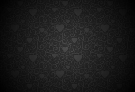 Black background with curls and hearts, dark background.
