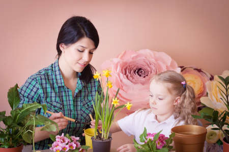Mom and daughter take care of indoor flowers. Studio photo. Happy family on a studio. Banco de Imagens - 155236798