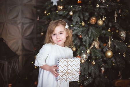 Cute little girl with a Christmas present in her hands. Winter holidays, christmas and new year. High quality photo. Standard-Bild
