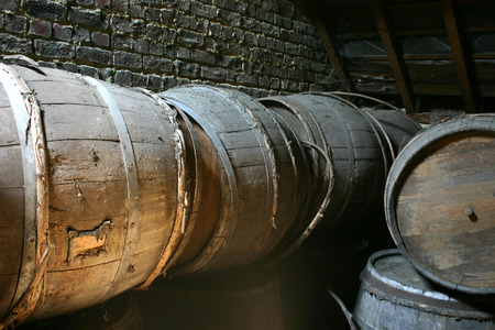 Old empty barrels of beer