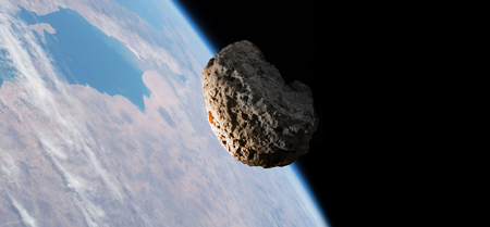 La caída del meteorito del espacio al planeta Tierra