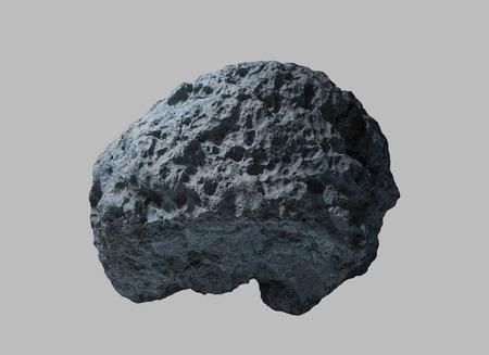 Meteorito de piedra desde el espacio sobre un fondo aislado