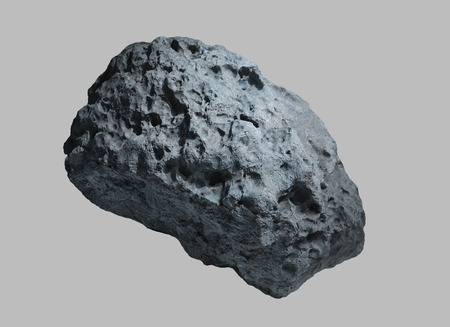 Stone asteroid from space on isolated background
