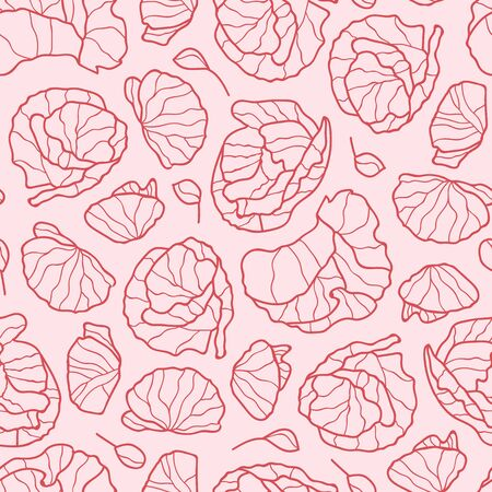 Vector flowers seamless pattern in red and pink. Simple doodle poppy flower hand drawn made into repeat. Great for background, wallpaper, wrapping paper, packaging, fashion.