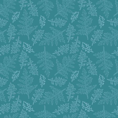 Vector texture leaf seamless pattern in blue and green. Simple doodle leaves hand drawn made into repeat. Great for background, wallpaper, wrapping paper, packaging, fashion. Stock Illustratie