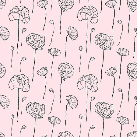 Vector flowers seamless pattern in black and pink. Simple doodle poppy flower hand drawn made into repeat. Great for background, wallpaper, wrapping paper, packaging, fashion. Stock Illustratie