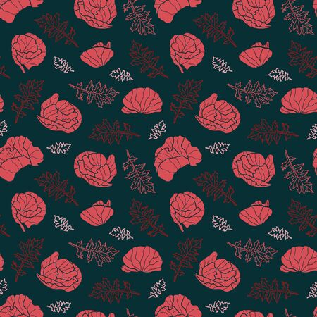 Vector flowers and leaves seamless pattern in red and black. Simple doodle poppy flower hand drawn made into repeat. Great for background, wallpaper, wrapping paper, packaging, fashion.
