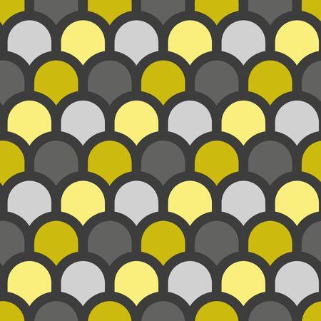 Vector fish scale seamless geometric pattern in gray and gold. Simple shape made into repeat. Great for background, wallpaper, wrapping paper, packaging, fashion. Çizim