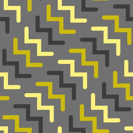 Vector chevron seamless geometric pattern in gray and gold. Simple shape made into repeat. Great for background, wallpaper, wrapping paper, packaging, fashion.