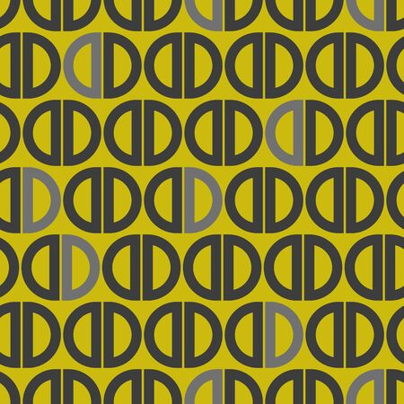 Vector half circle seamless geometric pattern in gray and gold. Simple shape made into repeat. Great for background, wallpaper, wrapping paper, packaging, fashion. Ilustrace