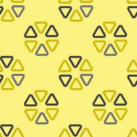 Vector abstract flower seamless geometric pattern in gray and yellow. Simple shape made into repeat. Great for background, wallpaper, wrapping paper, packaging, fashion. Ilustrace