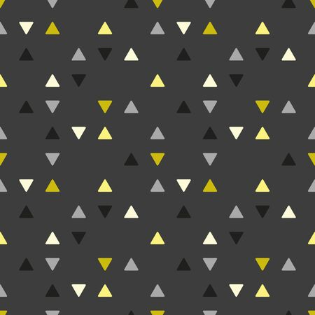 Vector triangle seamless geometric pattern in gray and gold. Simple shape made into repeat. Great for background, wallpaper, wrapping paper, packaging, fashion. Stock Illustratie