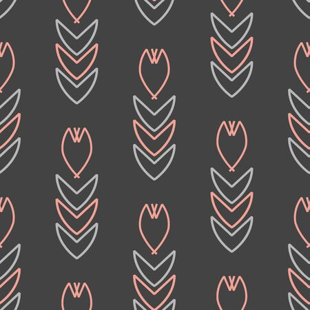 Vector seamless geometric flower pattern in gray and pink. Simple abstract shape made into repeat. Great for background, wallpaper, wrapping paper, packaging, fashion.