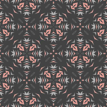 Vector seamless geometric pattern in gray and pink. Simple abstract shape made into repeat. Great for background, wallpaper, wrapping paper, packaging, fashion. Stock Illustratie